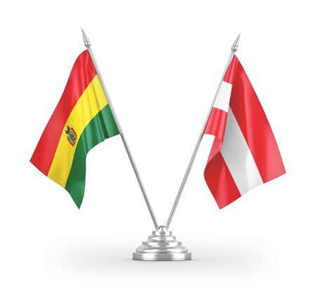 Austria and Bolivia table flags isolated on white background 3D rendering Zdjęcie Seryjne