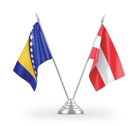Austria and Bosnia and Herzegovina table flags isolated on white background 3D rendering