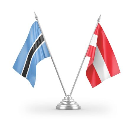 Austria and Botswana table flags isolated on white background 3D rendering