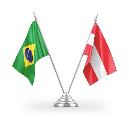 Austria and Brazil table flags isolated on white background 3D rendering Zdjęcie Seryjne