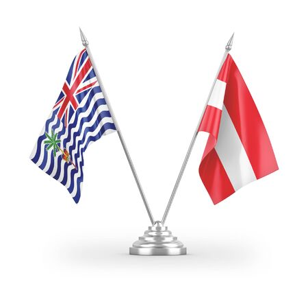 Austria and British Indian Territory table flags isolated on white background 3D rendering Zdjęcie Seryjne