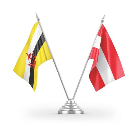 Austria and Brunei Darussalam table flags isolated on white background 3D rendering