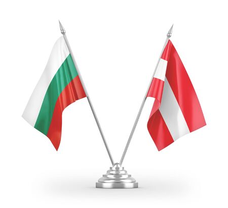 Austria and Bulgaria table flags isolated on white background 3D rendering