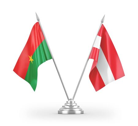 Austria and Burkina Faso table flags isolated on white background 3D rendering