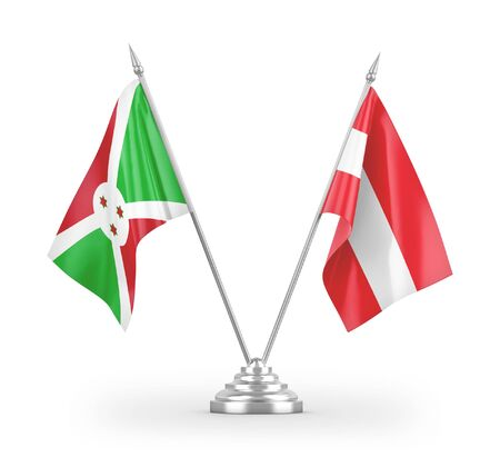 Austria and Burundi table flags isolated on white background 3D rendering