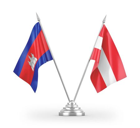 Austria and Cambodia table flags isolated on white background 3D rendering Zdjęcie Seryjne