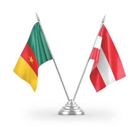 Austria and Cameroon table flags isolated on white background 3D rendering