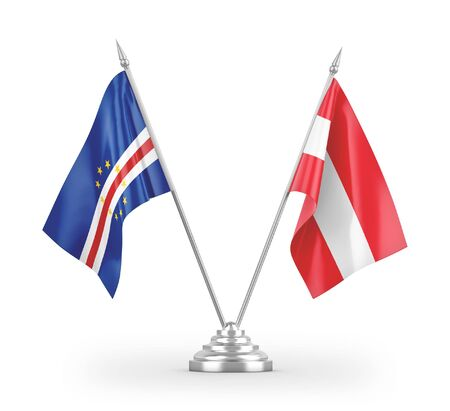 Austria and Cape Cabo Verde table flags isolated on white background 3D rendering