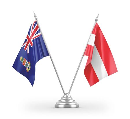 Austria and Cayman Islands table flags isolated on white background 3D rendering