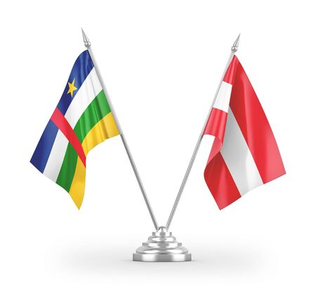 Austria and Central African Republic table flags isolated on white background 3D rendering