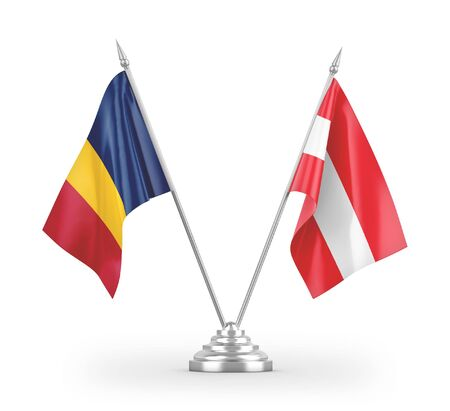 Austria and Chad table flags isolated on white background 3D rendering Zdjęcie Seryjne