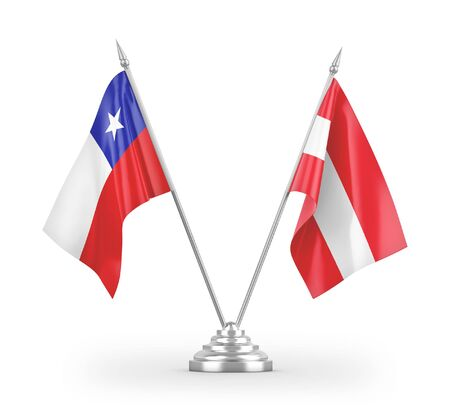 Austria and Chile table flags isolated on white background 3D rendering