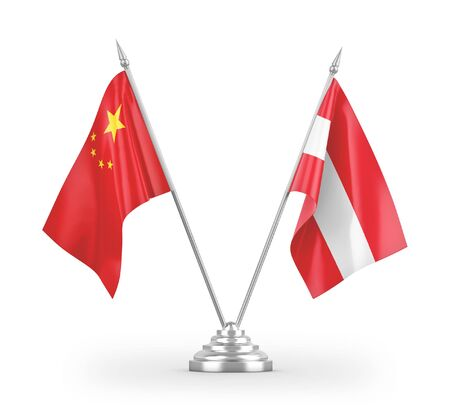 Austria and China table flags isolated on white background 3D rendering Zdjęcie Seryjne
