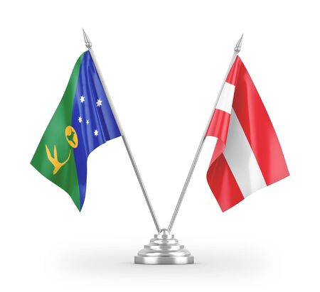 Austria and Christmas Island table flags isolated on white background 3D rendering