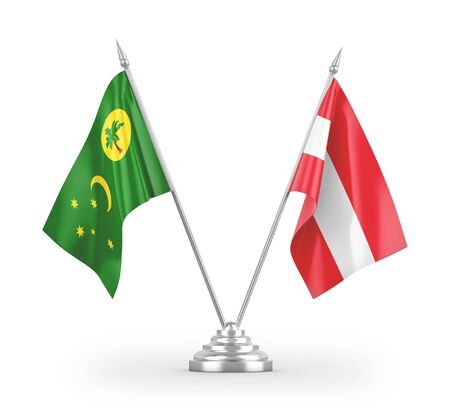 Austria and Cocos Keeling Islands table flags isolated on white background 3D rendering Zdjęcie Seryjne