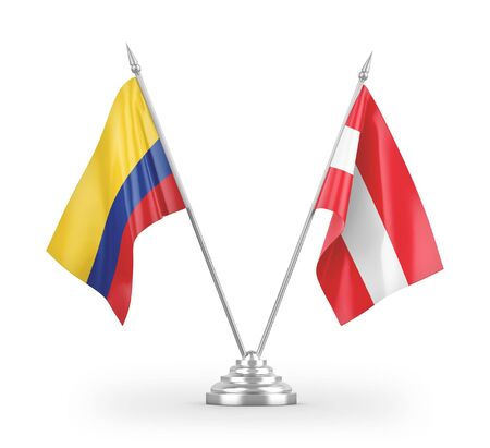 Austria and Colombia table flags isolated on white background 3D rendering Zdjęcie Seryjne