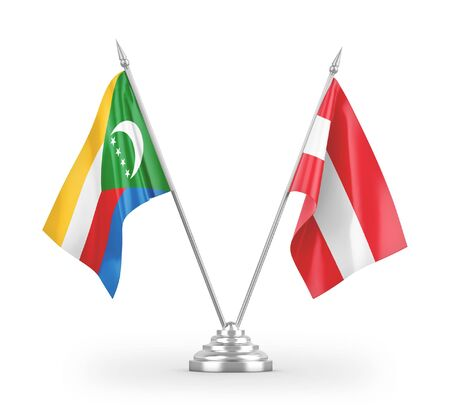 Austria and Comoros table flags isolated on white background 3D rendering