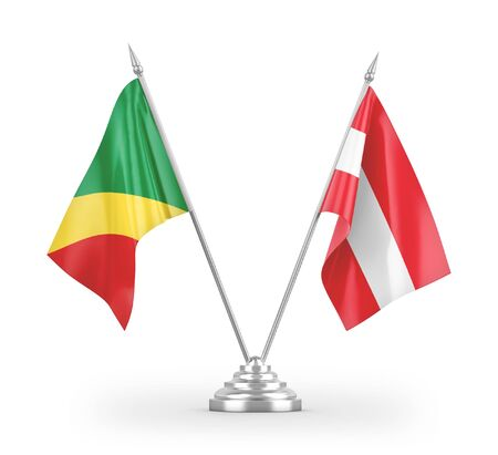 Austria and Congo table flags isolated on white background 3D rendering