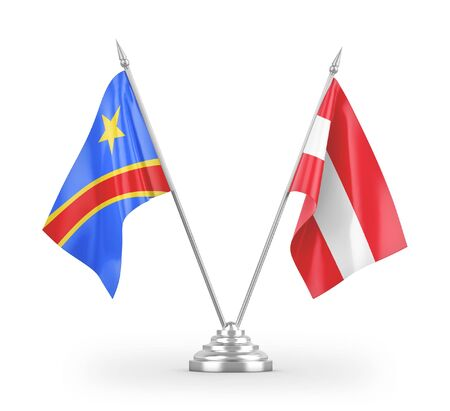 Austria and Congo Democratic Republic table flags isolated on white background 3D rendering