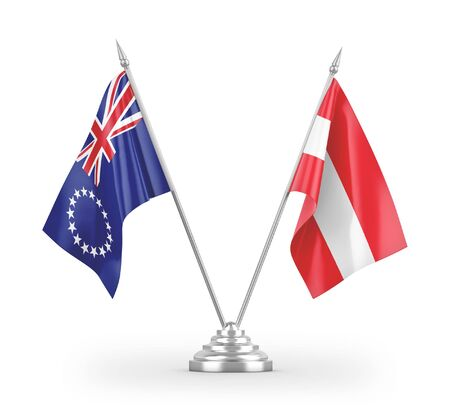 Austria and Cook Islands table flags isolated on white background 3D rendering