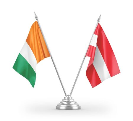 Austria and Cote dIvoire Ivory coast table flags isolated on white background 3D rendering Zdjęcie Seryjne