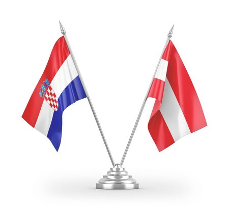 Austria and Croatia table flags isolated on white background 3D rendering