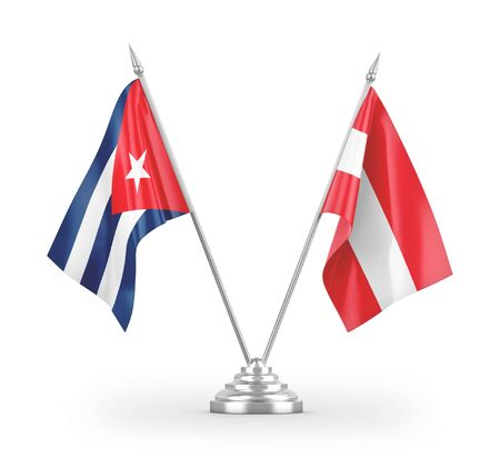 Austria and Cuba table flags isolated on white background 3D rendering Zdjęcie Seryjne