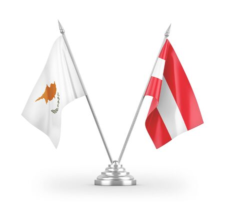 Austria and Cyprus table flags isolated on white background 3D rendering Zdjęcie Seryjne