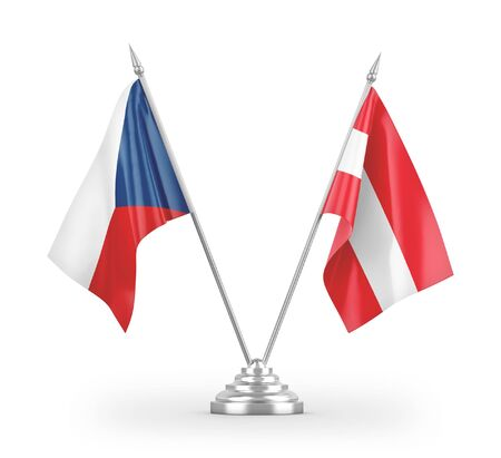 Austria and Czech Republic table flags isolated on white background 3D rendering