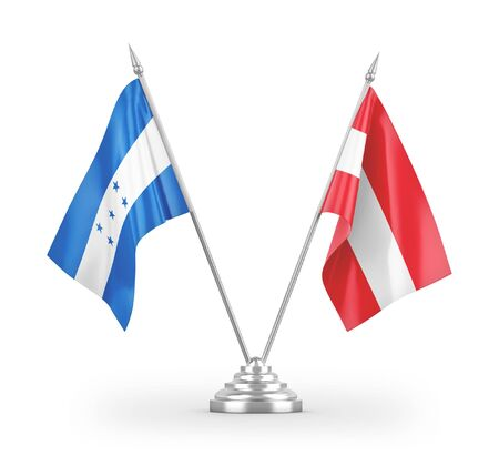 Austria and Honduras table flags isolated on white background 3D rendering