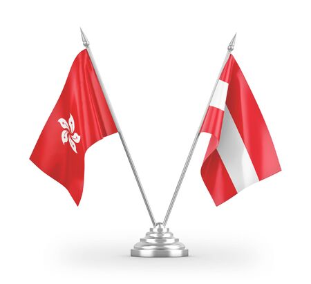 Austria and Hong Kong table flags isolated on white background 3D rendering