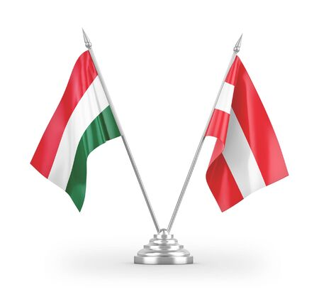 Austria and Hungary table flags isolated on white background 3D rendering Reklamní fotografie