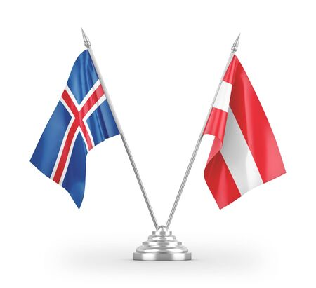 Austria and Iceland table flags isolated on white background 3D rendering