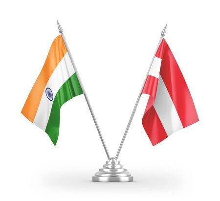 Austria and India table flags isolated on white background 3D rendering
