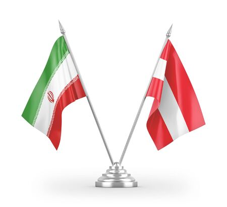 Austria and Iran table flags isolated on white background 3D rendering