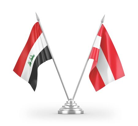 Austria and Iraq table flags isolated on white background 3D rendering Reklamní fotografie