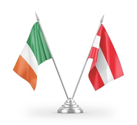 Austria and Ireland table flags isolated on white background 3D rendering Reklamní fotografie