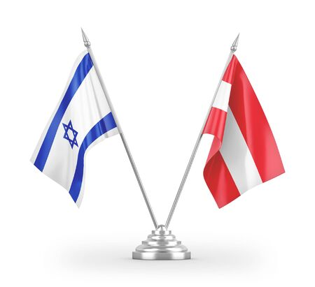 Austria and Israel table flags isolated on white background 3D rendering