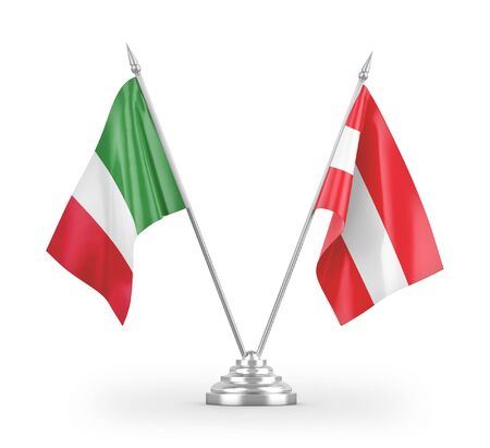 Austria and Italy table flags isolated on white background 3D rendering