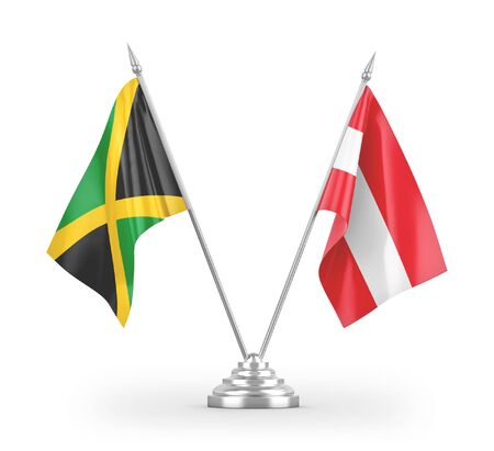 Austria and Jamaica table flags isolated on white background 3D rendering