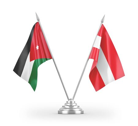 Austria and Jordan table flags isolated on white background 3D rendering