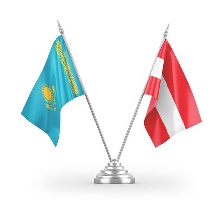 Austria and Kazakhstan table flags isolated on white background 3D rendering Reklamní fotografie