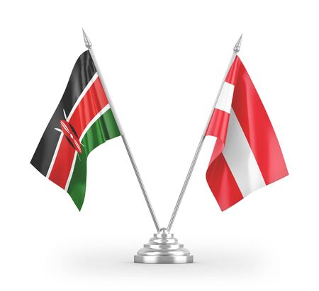 Austria and Kenya table flags isolated on white background 3D rendering