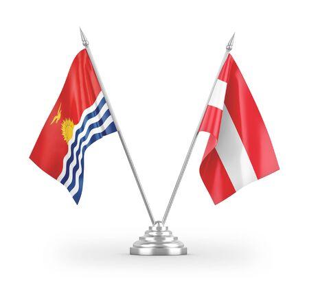Austria and Kiribati table flags isolated on white background 3D rendering Reklamní fotografie