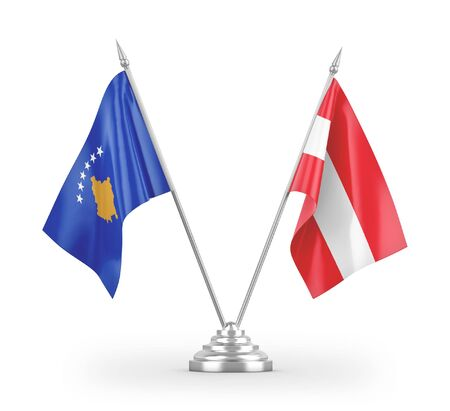 Austria and Kosovo table flags isolated on white background 3D rendering