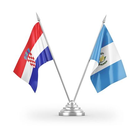 Guatemala and Croatia table flags isolated on white background 3D rendering