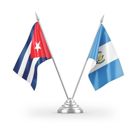 Guatemala and Cuba table flags isolated on white background 3D rendering