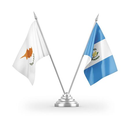Guatemala and Cyprus table flags isolated on white background 3D rendering Zdjęcie Seryjne