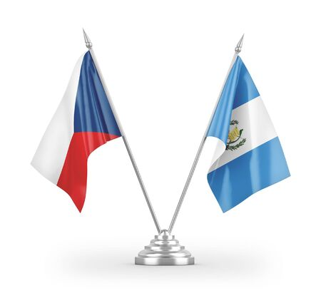 Guatemala and Czech Republic table flags isolated on white background 3D rendering