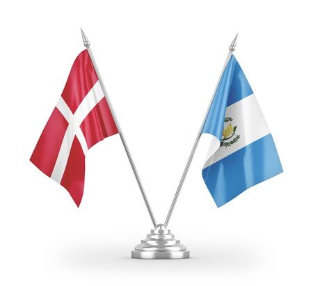 Guatemala and Denmark table flags isolated on white background 3D rendering Zdjęcie Seryjne